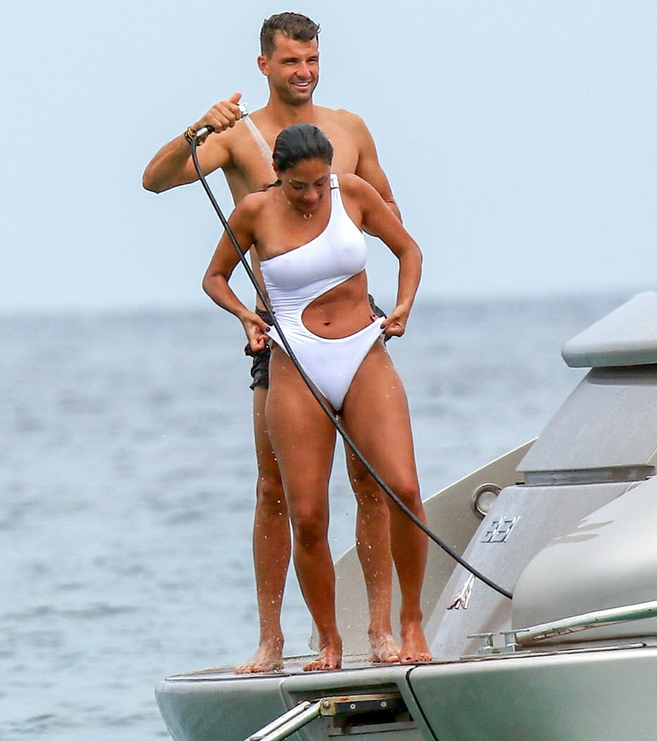 Nicole Scherzinger and boyfriend Grigor Dimitrov have fun showering and launching themselves off a yacht into the sea in Saint Tropez