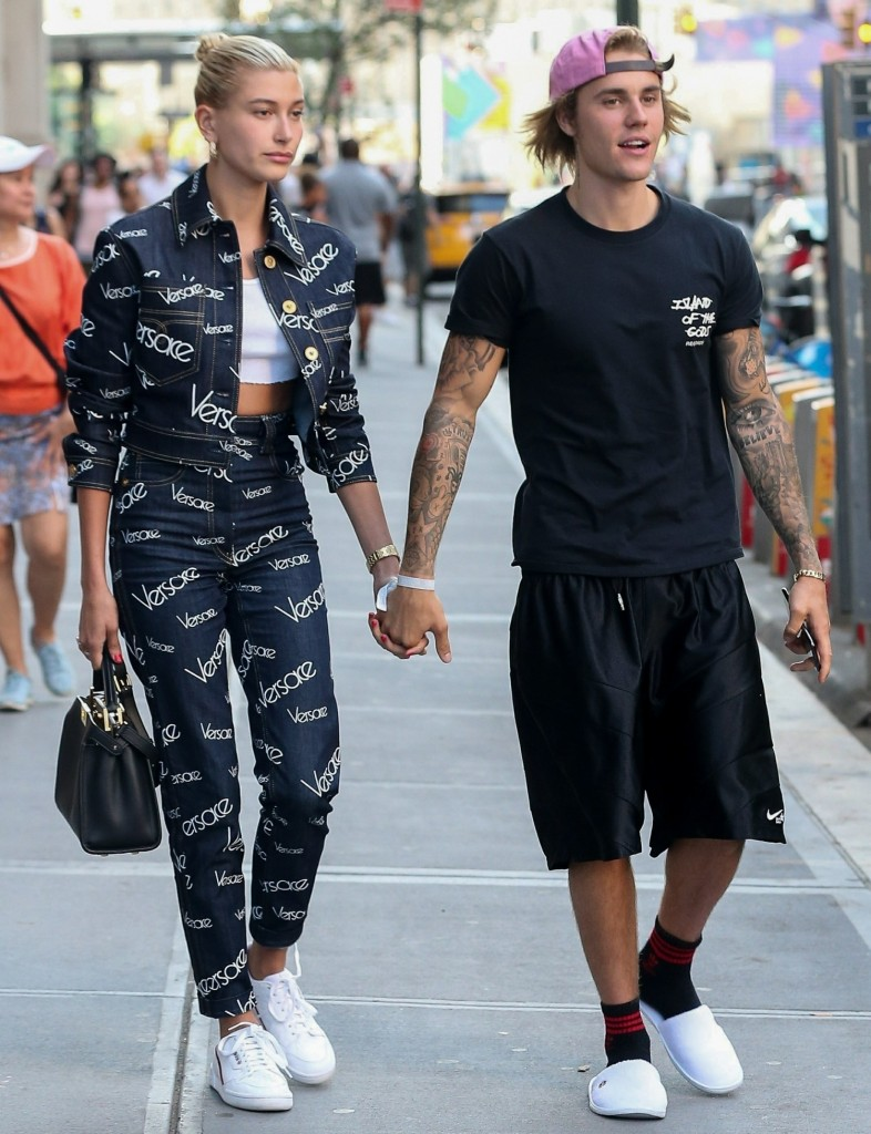 Justin Bieber and Hailey Baldwin walk hand in hand after dinner at Nobu