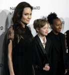 Angelina Jolie arrives at the National Board of Review Gala with her kids