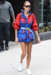 Hailey Baldwin shows off her long model legs stepping out in New York