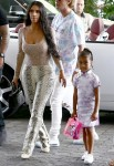 Kim Kardashian her daughter North West leave their Miami hotel with Larsa Pippen and Jonathan Cheban