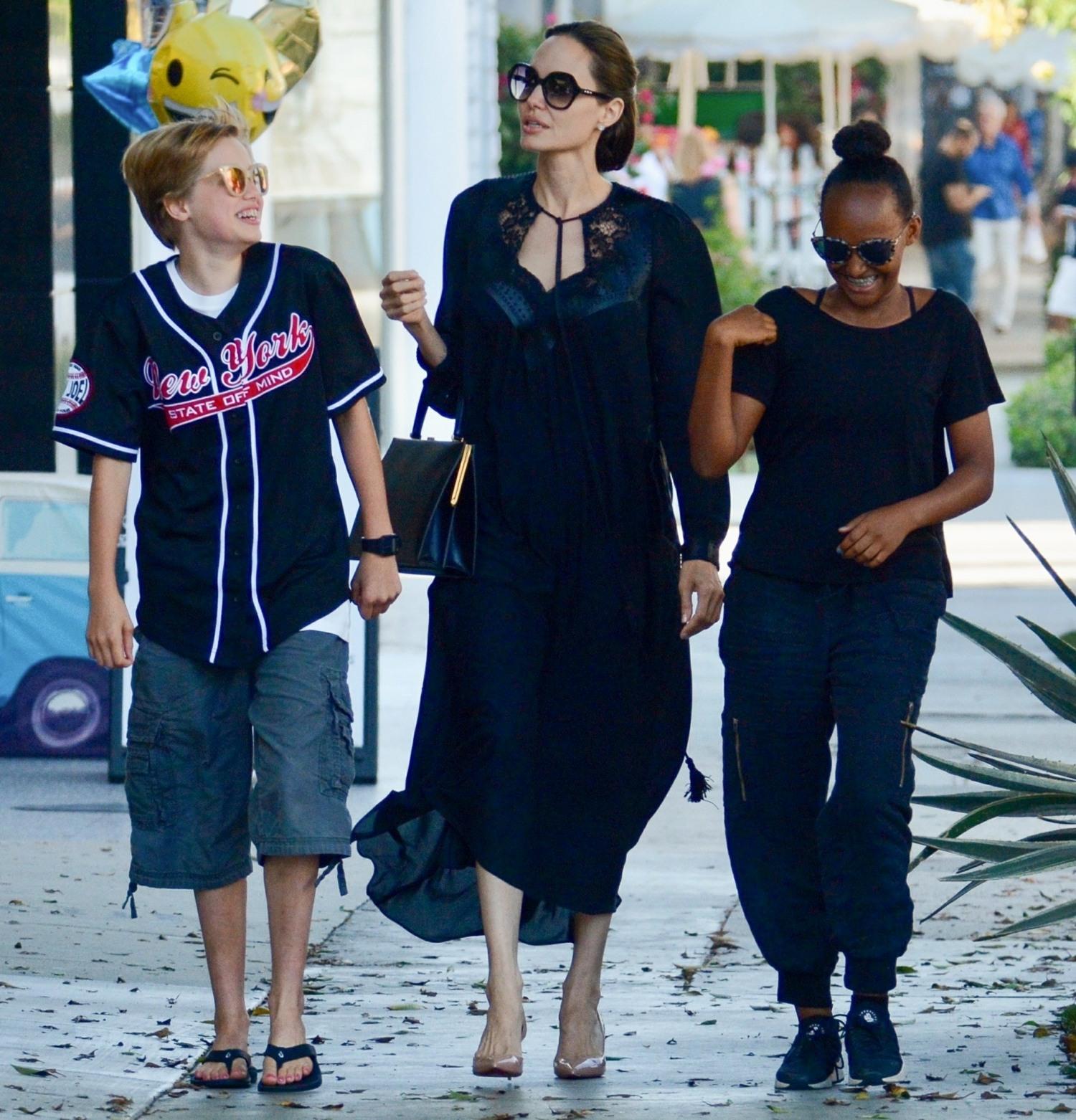 Girls day out! Angelina Jolie takes Shiloh and Zahara shopping at Kitson