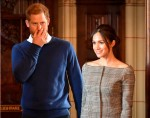 Prince Harry and fiancee Meghan Markle during a visit to Cardiff Castle as part of their royal duties