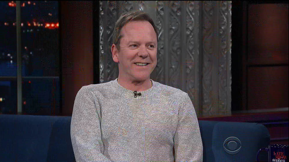 Kiefer Sutherland during an appearance on CBS' 'The Late Show with Stephen Colbert.'