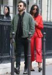 Justin Theroux and girlfriend Laura Harrier stroll through Paris during Spring Summer 2019 Fashion Week