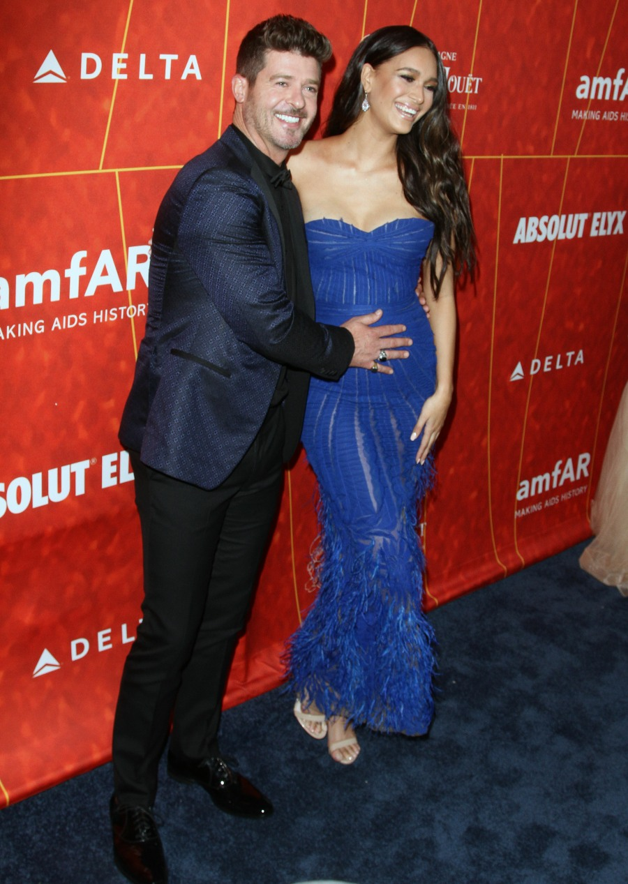 Robin Thicke, April Love Geary attends The the amFAR Gala in Los Angeles