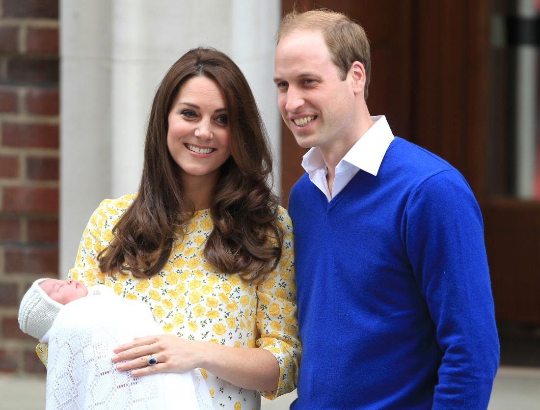 Catherine, Duchess of Cambridge and Prince William, Duke of Cambridge, leave St Mary's hospital