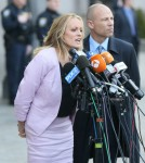 Stormy Daniels and her attorney Michael Avenatti are seen leaving the courthouse