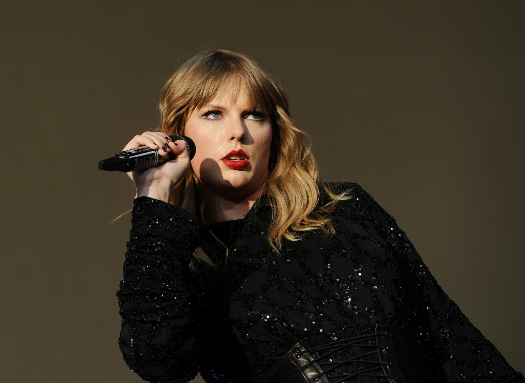 Taylor Swift performs on stage at the BBC's The Biggest Weekend in Swansea