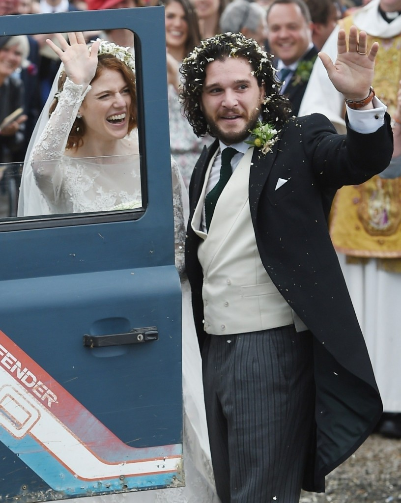 Just Married! Kit Harington and Rose Leslie leave Rayne Church after tying the knot