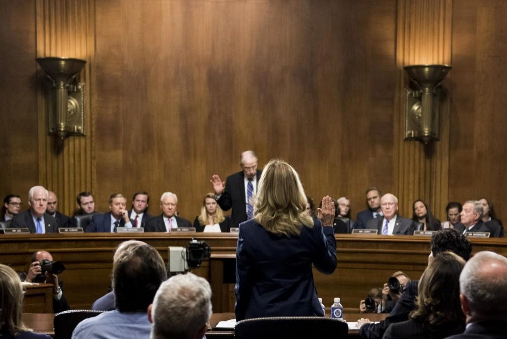 Christine Blasey Ford testifies before the Senate Judiciary Committee