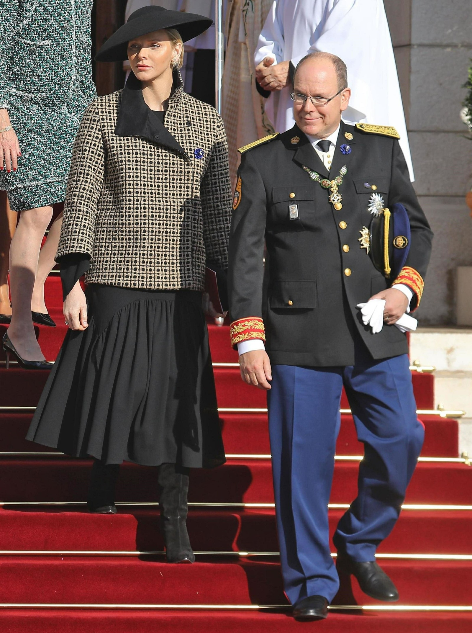 Royal family of Monaco leaving the Notre Dame Immaculee Cathedral during National Day