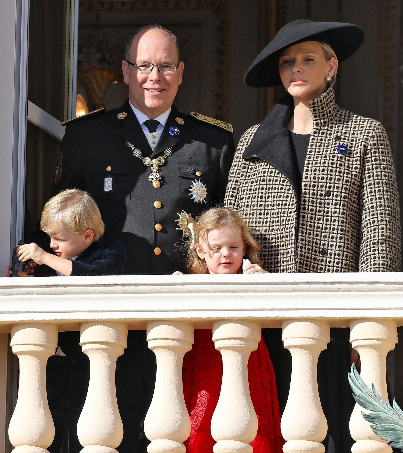 The Royal Family of Monaco poses on the balcony of the Palace for National Day