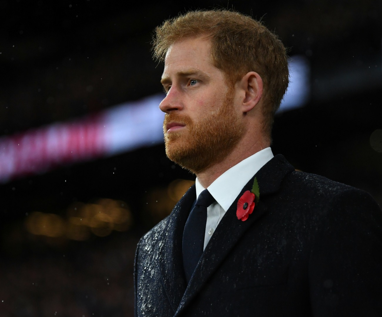 Britain's Prince Harry stands during a wreath-laying ceremony to commemorate 100 years since the end of the First World War, before the England v New Zealand rugby match at Twickenham Stadium, in London