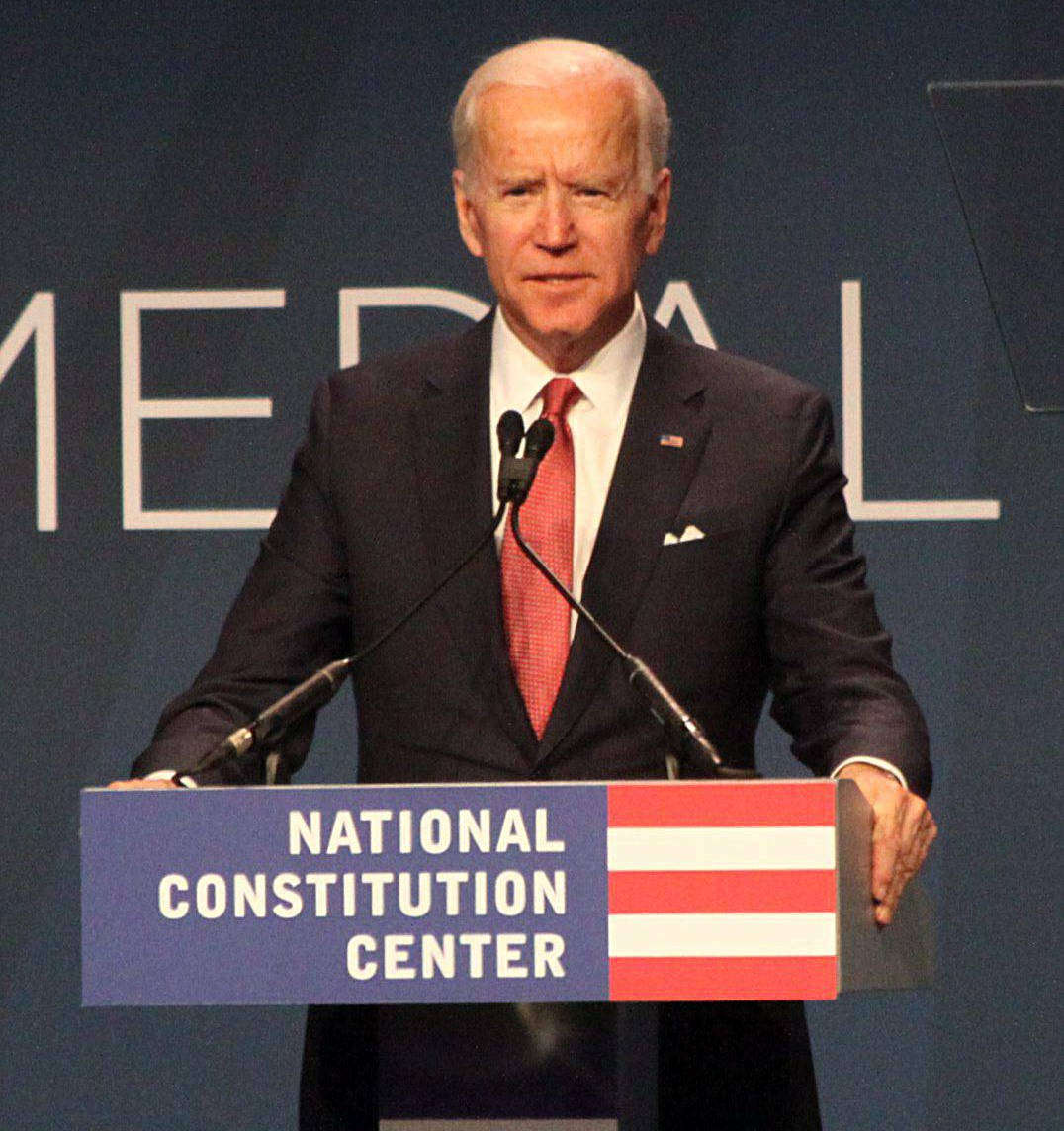 Joe Biden at the presentation of the 2018 Liberty Medal to George W Bush and Laure Bush at The National Constitution Center