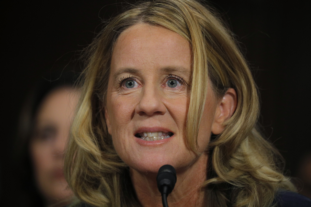 Professor Christine Blasey Ford testifies at Senate Judiciary Committee confirmation hearing for nominee Kavanaugh on Capitol Hill in Washington