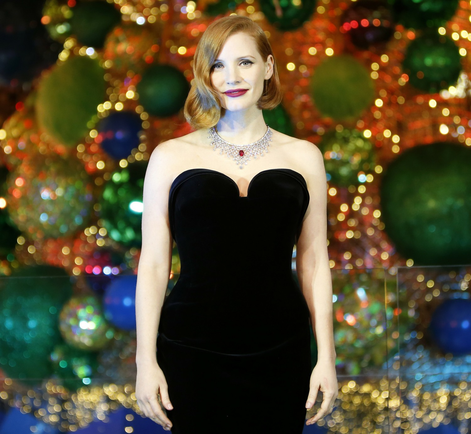 Jessica Chastain launches Galeries Lafayette Christmas lights