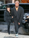 Kim Kardashian and Kanye West look bundled up for the cold NYC weather
