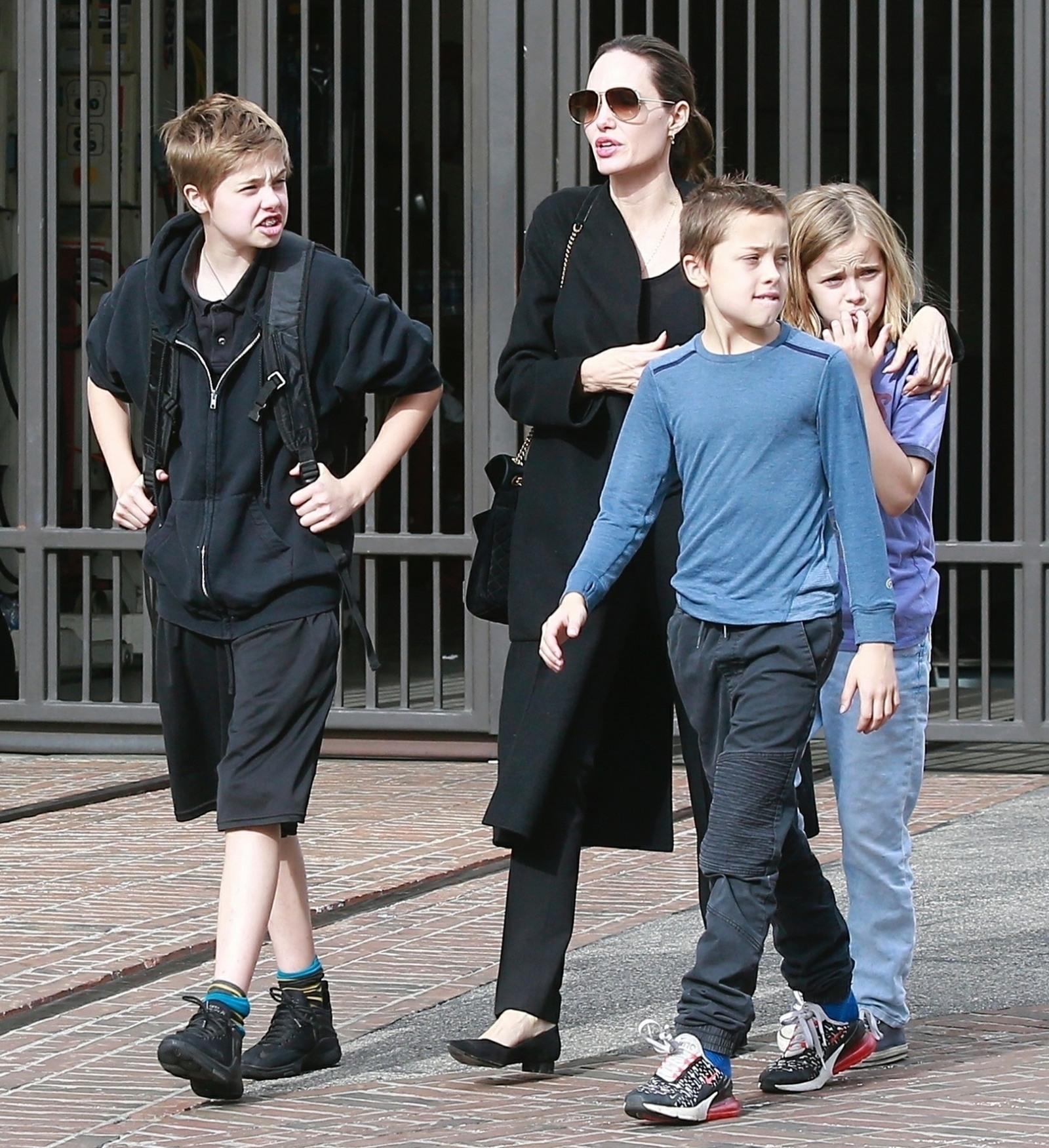 Angelina Jolie gets some holiday shopping done at The Grove with her kids