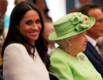 Britain's Queen Elizabeth and Meghan, the Duchess of Sussex, visit the Storyhouse in Chester