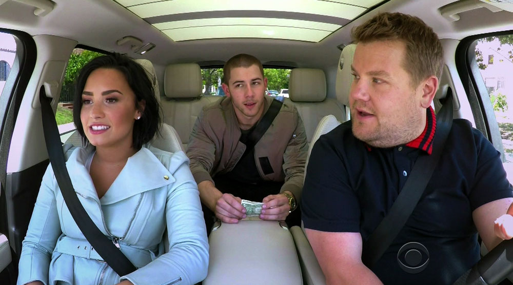 Demi Lovato and Nick Jonas in Carpool Karaoke during an appearance on CBS's 'The Late Late Show with James Corden.'