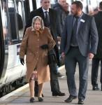 Queen Elizabeth II arrives at King's Lynn station