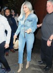 Kylie Jenner looks striking in all denim as she steps out of her NYC hotel