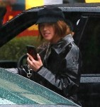 Newly engaged Katherine Schwarzenegger steps out for lunch on a rainy day