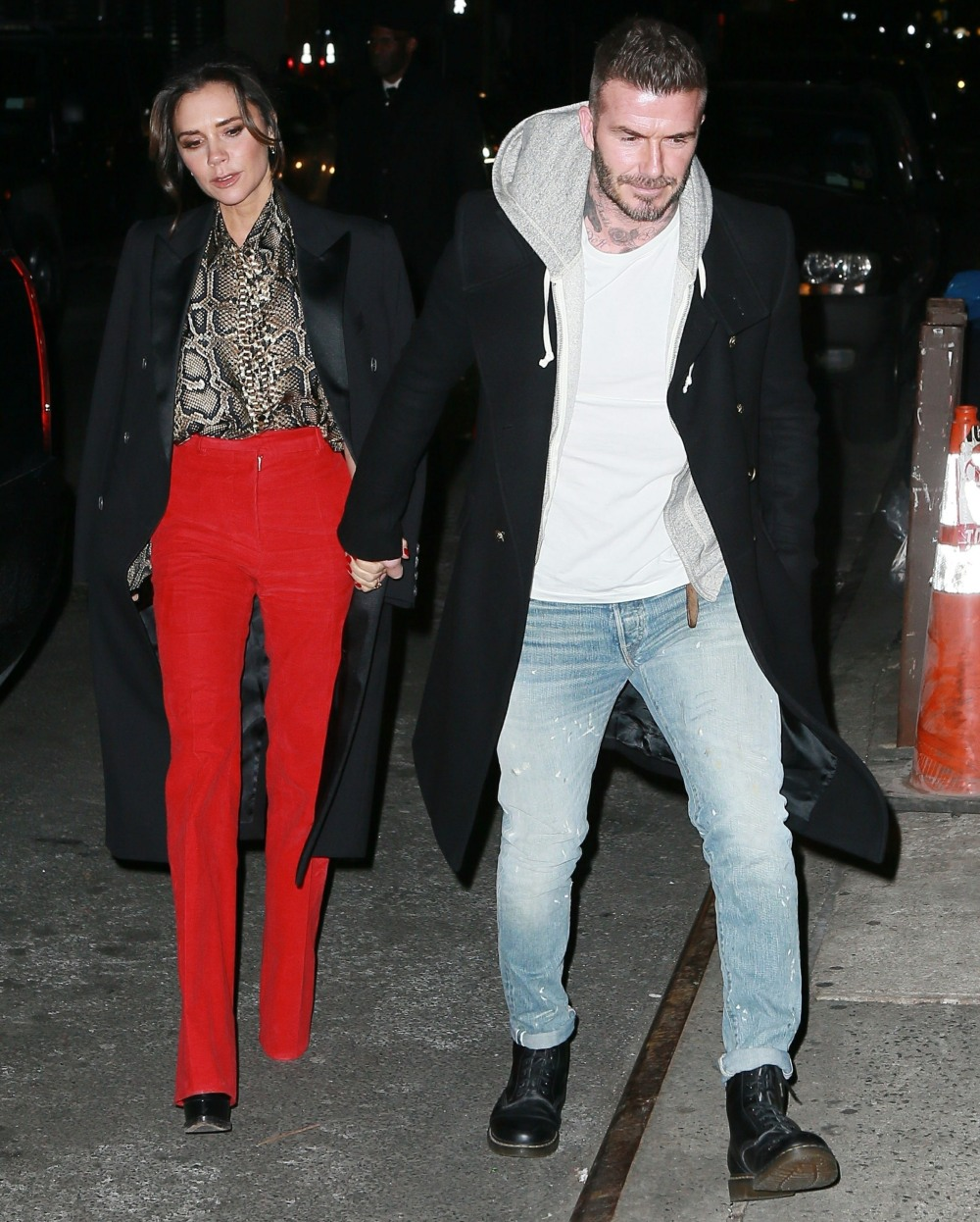 David and Victoria Beckham arrive at Victoria's Reebok party in New York