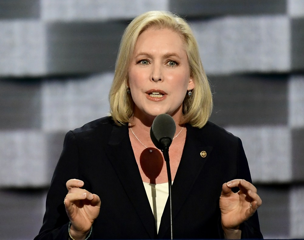 United States Senator Kirsten Gillibrand (Democrat of New York) makes remarks at the 2016 Democratic National Convention at the Wells Fargo Center in Philadelphia, Pennsylvania on Monday, July 25, 2016.