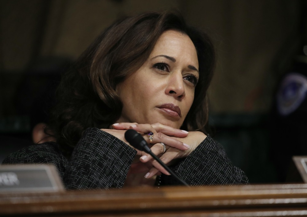 U.S. Senator Harris listens during Senate Judiciary Committee confirmation hearing on Kavanaugh nomination on Capitol Hill in Washington