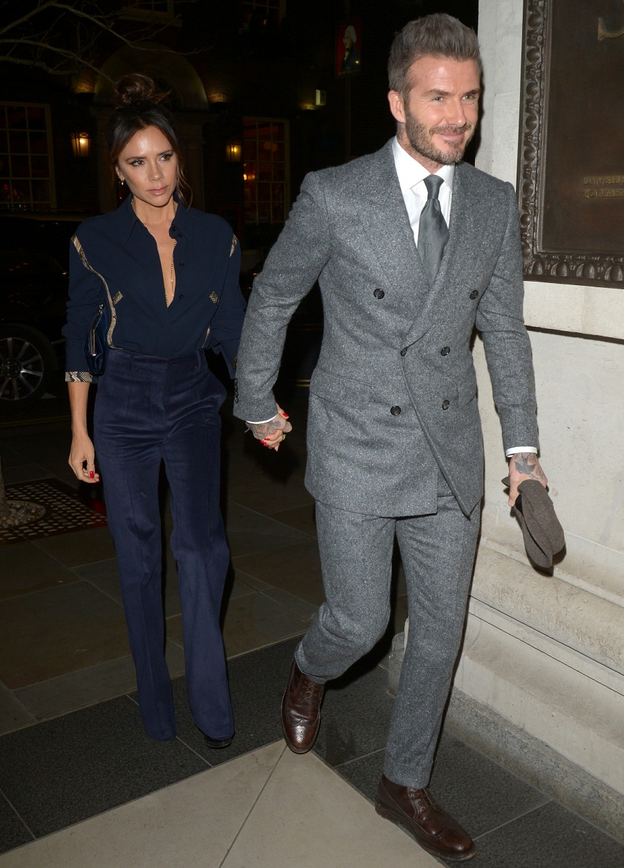 David and Victoria Beckham hold hands whilst out in London