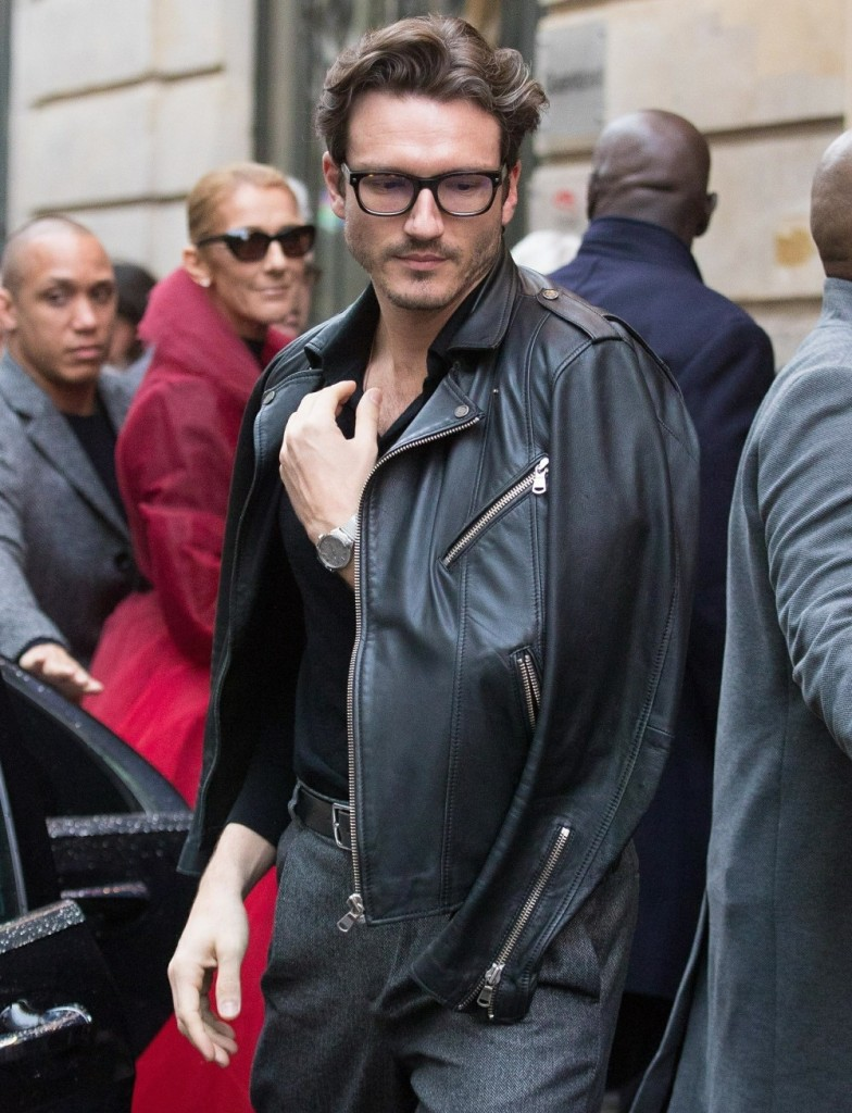 Celine Dion and Pepe Munoz arrive at the Mogador Theater to attend the Chicago musical in Paris