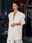 Rihanna looks sexy in silk for a sushi dinner at Kappo Masa
