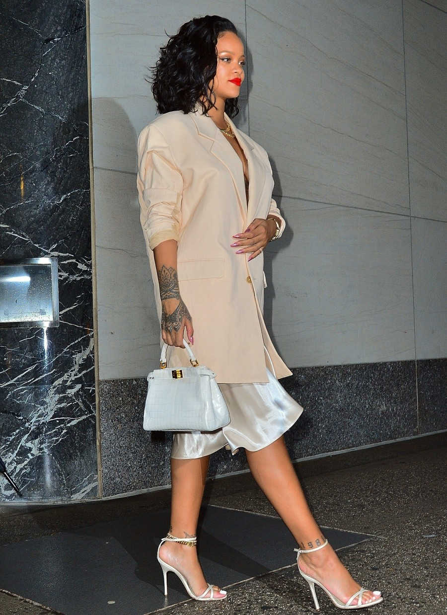 Rihanna is sexy in silk for a sushi dinner at Kappo Masa in New York
