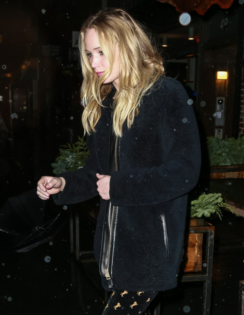 Jennifer Lawrence and fiance Cooke Maroney exit from il Buco Italian restaurant