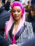 Cardi B steps out rocking a new pink hairdo filming Netflix's 'Rhythm & Flow' i
