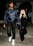 Khloe Kardashian and Tristan Thompson celebrate a victorious win for the Cavilers at Craig's in West Hollywood
