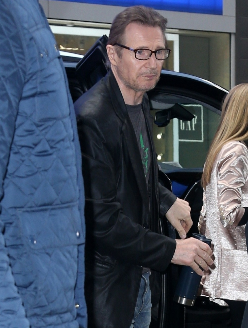 Liam Neeson is seen leaving GMA after being in the headlines regarding controversial remarks