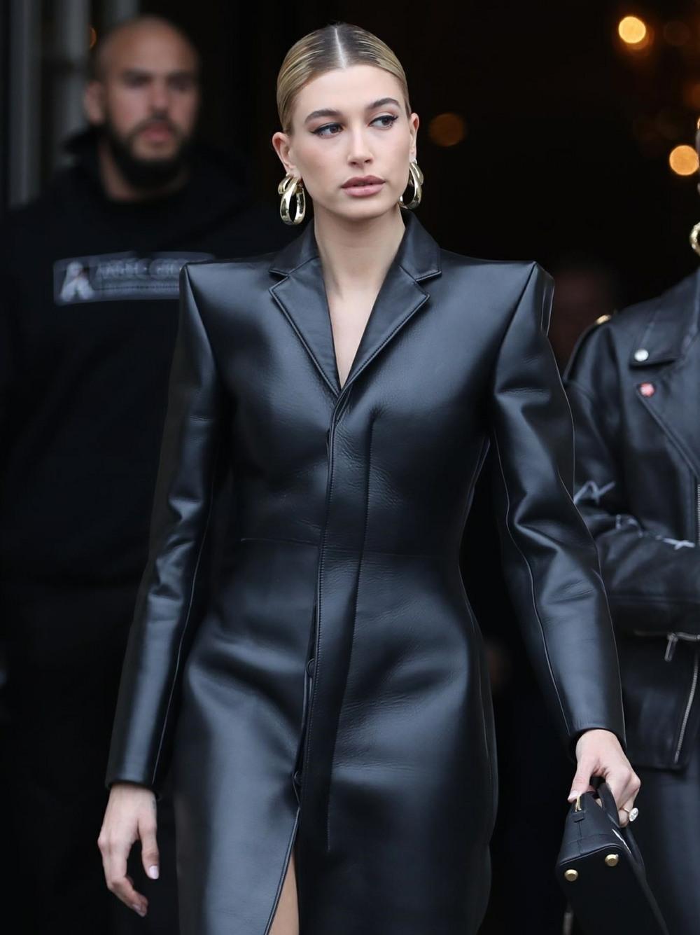 Hailey Baldwin is seen leaving the Crillon Hotel during Paris Fashion Week