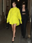 """Hailey Baldwin leaves the """"Americans in Paris"""" party organized by Anna Wintour during Paris Fashion Week"""