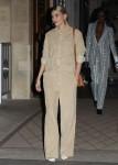 Hailey Baldwin Bieber leaves her hotel during Paris Fashion Week
