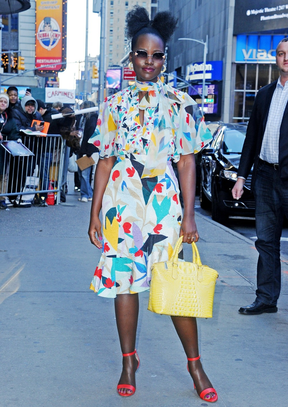 Lupita Nyong'o is seen leaving Good Morning America in Times Square