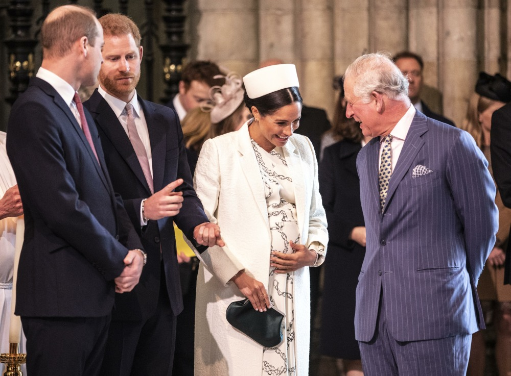 The Duchess of Sussex talks with Prince Charles at the Westminster Abbey Commonw