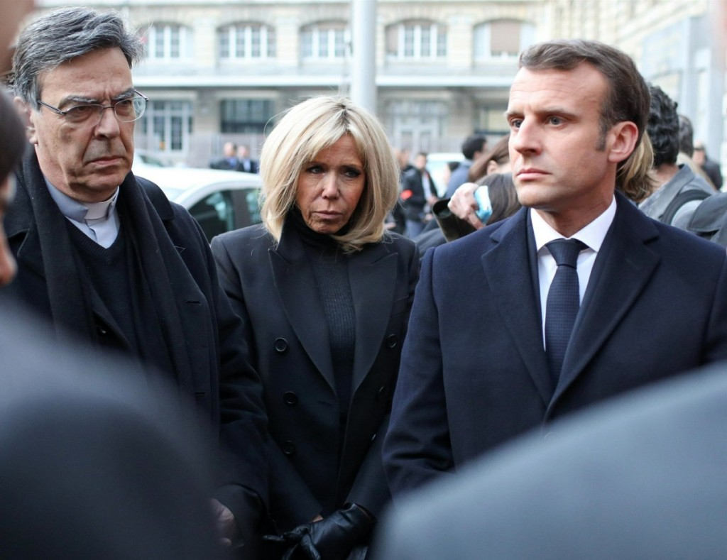 French President Emmanuel Macron visits Notre-Dame Cathedral in Paris