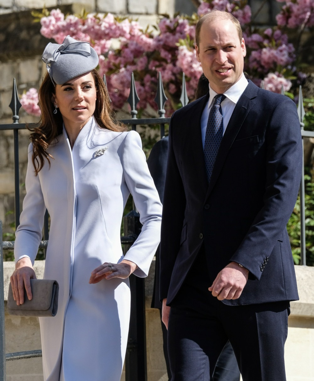 Kate, Duchess of Cambridge, Prince William, Duke of Cambridge arrives at the Easter Sunday church service at St.George's Chapel in Windsor Castle on Sunday April 21, 2019