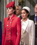 The Duchess of Cambridge stands with the Duchess of Sussex at Westminster Abbey