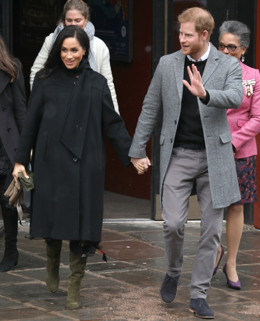 Prince Harry and Meghan, Duchess of Sussex leave the Old Vic Bristol