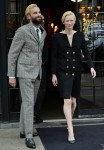 Tilda Swinton greets NYC legend Radioman while leaving The Bowery Hotel