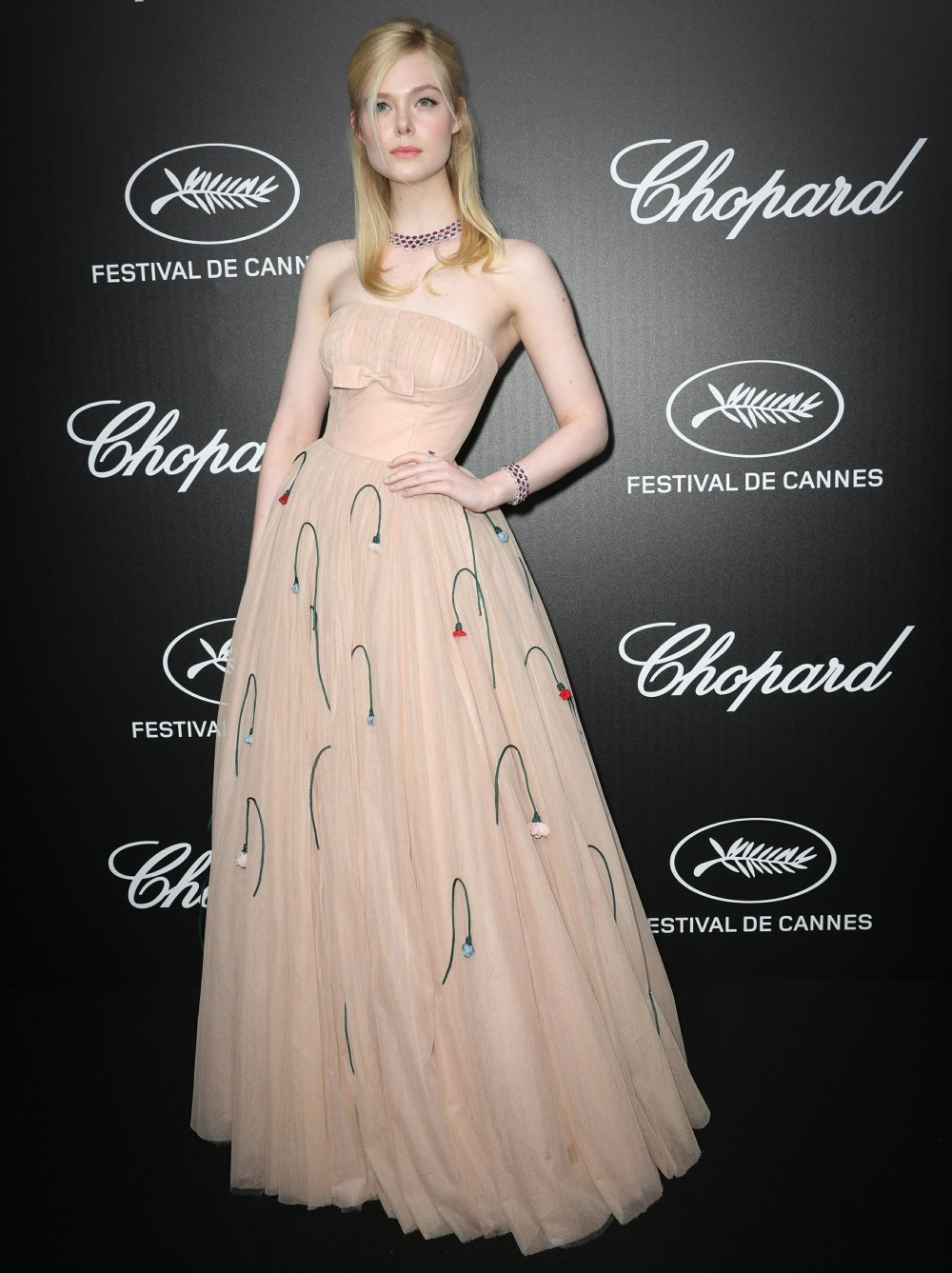 "Elle Fanning at the ""Chopard Dinner Trophy"" evening at the Cannes Film Festival"